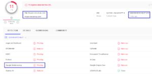 VirusTotal detection for Phishing Domain